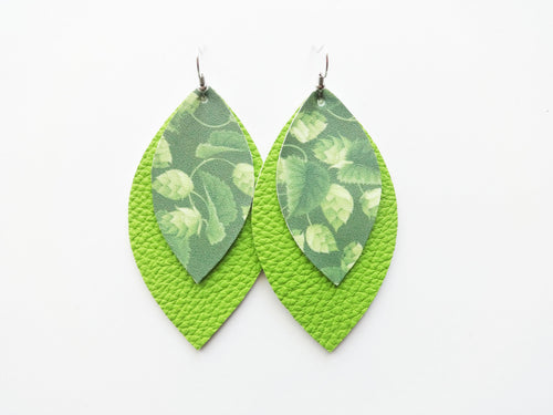 Hop Plant Beer Green Double Layer Leaf Vegan Leather Earring