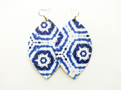 Indigo Tie Dye Leaf Vegan Leather Earrings