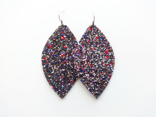 Americana Leaf Glitter Vegan Leather Earrings