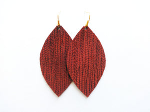 Cinnamon Vine Leaf Genuine Leather Earring