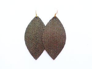 Tiny Gold Stripes Leaf Genuine Leather Earring