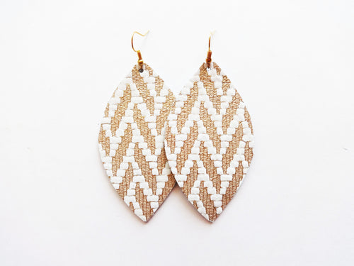 Gold Woven Leaf Genuine Leather Earring