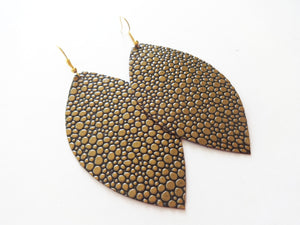 Golden Bubbles Leaf Genuine Leather Earring