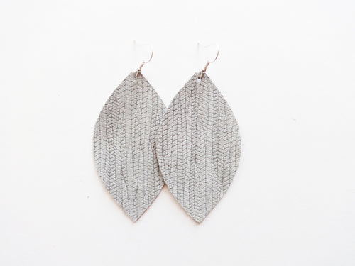 Fog Grey Vine Leaf Genuine Leather Earring