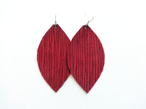 Cranberry Red Vine Leaf Genuine Leather Earring