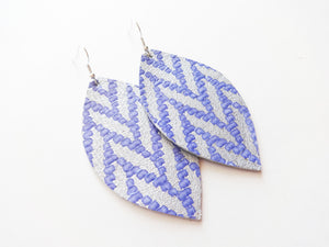 Periwinkle Woven Leaf Genuine Leather Earring