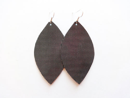 Tiny Silver Dots Leaf Genuine Leather Earring
