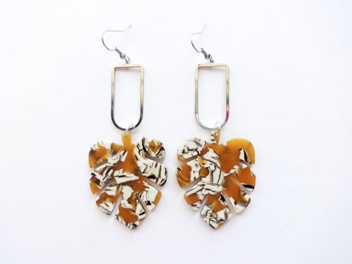 Mustard Marble Acrylic Palm & Metal Earring