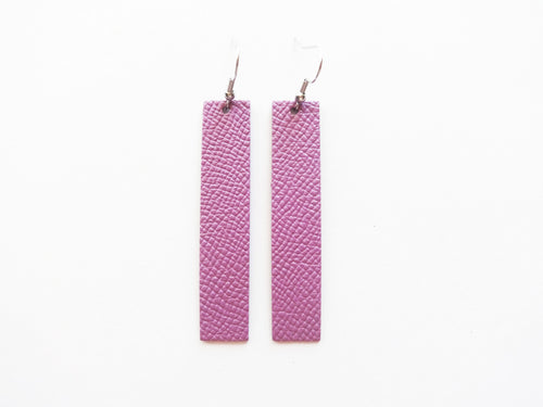 Opal Purple Bar Genuine Leather Earring