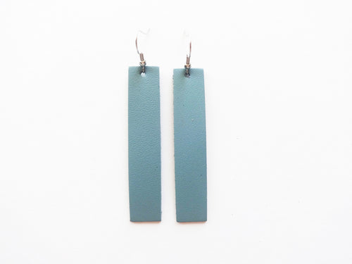 Sea Sparkle Blue Bar Genuine Leather Earring
