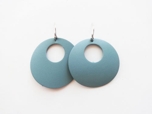 Sea Sparkle Blue Cutout Halo Genuine Leather Earring