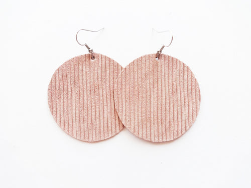 Nude Blush Rope Round Genuine Leather Earring
