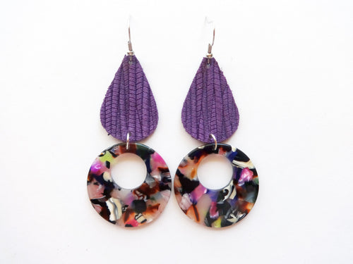 Grape Purple Vine Teardrop Round Cutout Genuine Leather Earring