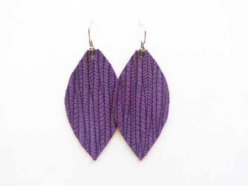 Grape Purple Vine Leaf Genuine Leather Earring