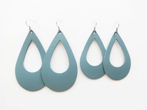 Sea Sparkle Blue Cutout Teardrop Genuine Leather Earring
