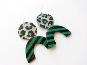 OOAK Leopard Glitter Acrylic Vegan Leather Earring