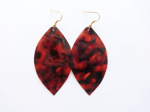 Waterproof Tortoise Shell Vegan Leaf Pool Earrings