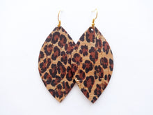 Leopard Cork Leaf Genuine Leather Earring