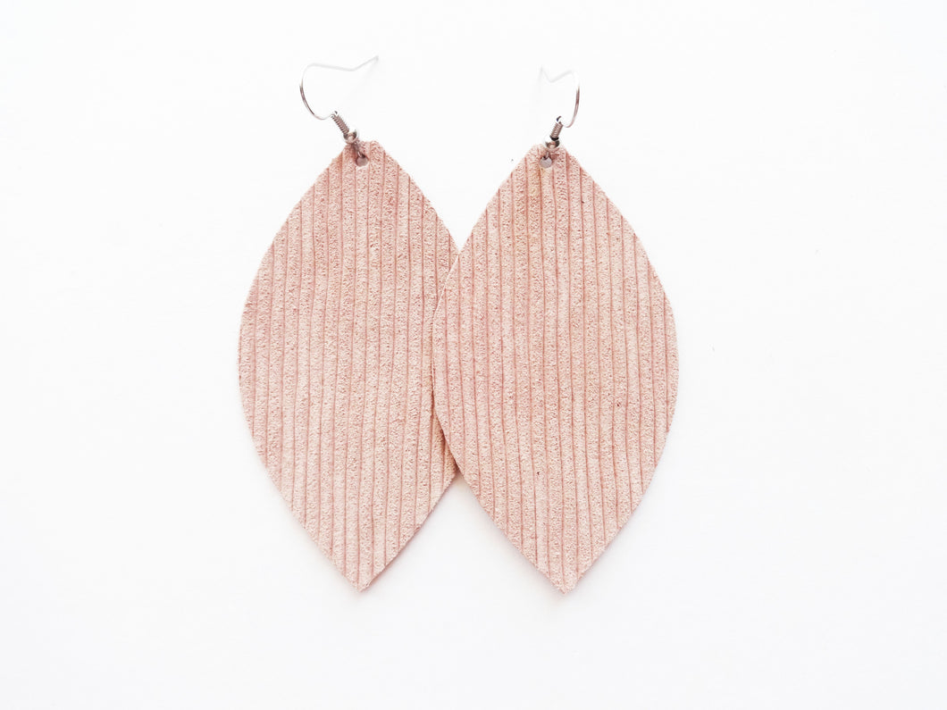 Nude Blush Rope Leaf Genuine Leather Earring