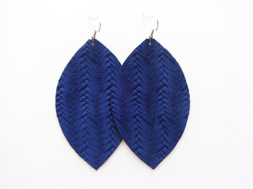 Sapphire Blue Braided Leaf Genuine Leather Earring