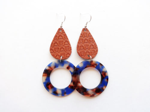 Tan Teardrop Round Cutout Genuine Leather Earring