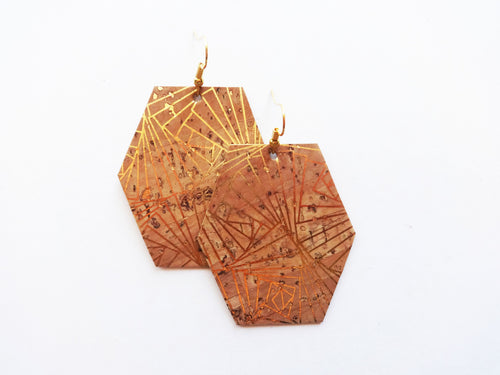 Art Deco Cork Hexagon Vegan Leather Earring