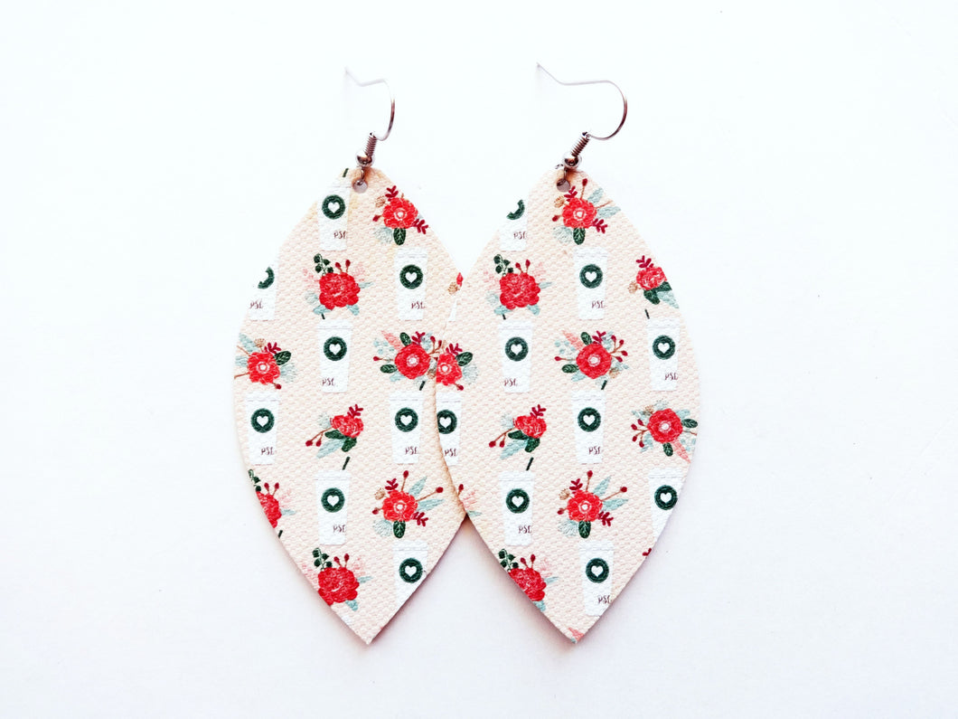 Love You A Latte Leaf Vegan Leather Earrings