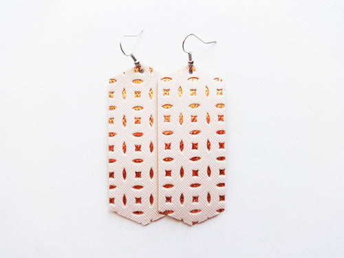 Peachy Rose Gold Crystal Vegan Leather Earring