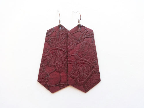 Maroon Doilie Jewel Vegan Leather Earring