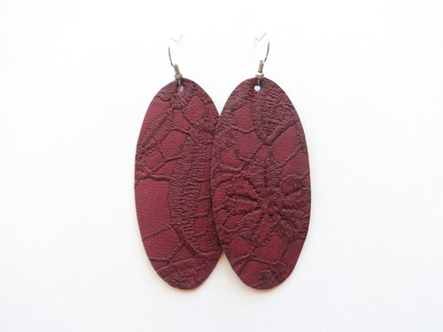 Maroon Doilie Oval Vegan Leather Earring