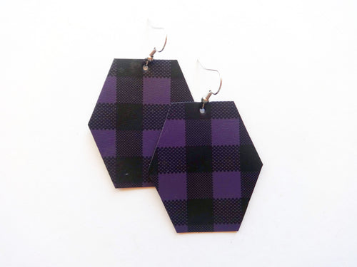Deep Purple Buffalo Plaid Hexagon Vegan Leather Earring