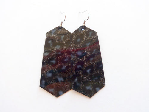 Black Glitter Leopard Jewel Vegan Leather Earring