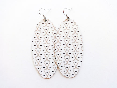 Hockey Sticks Oval Vegan Leather Earring