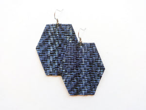 Blue Knit Hexagon Vegan Leather Earring
