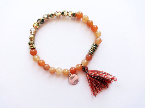 Orange & Gold Beaded Tassel Bracelet