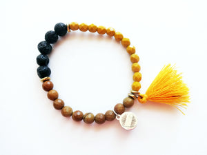 Yellow & Tan Diffuser Tassel Beaded Bracelet