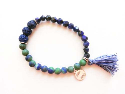 Blue & Green Diffuser Tassel Beaded Bracelet