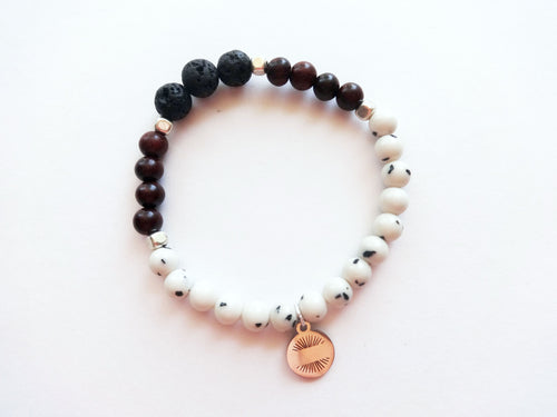 Brown & Dalmation Diffuser Beaded Bracelet