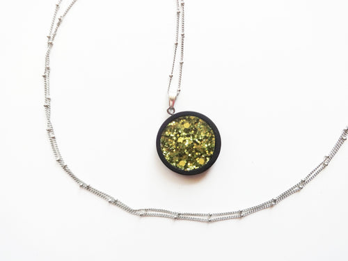 Olive Green Glitter Wood Pendant Satellite Chain Necklace