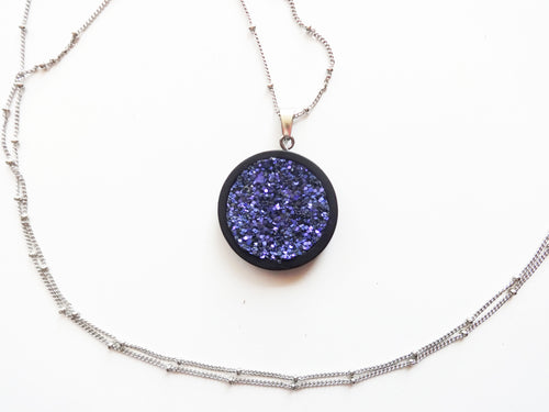 Purple Haze Glitter Wood Pendant Satellite Chain Necklace