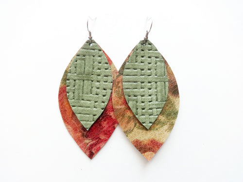 Vintage Floral Woven Double Layer Leaf Genuine Leather Earring