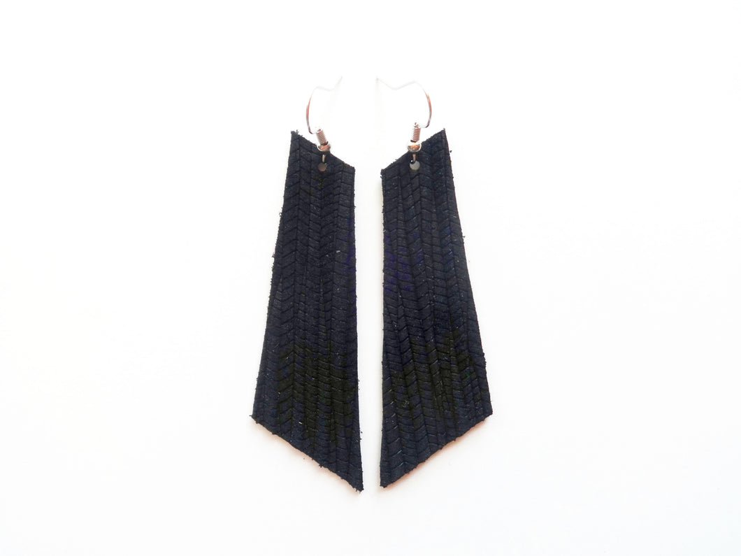 Black Vine Signature Genuine Leather Earrings