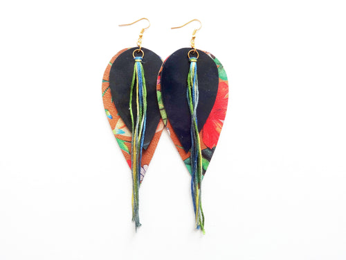 OOAK Double Tassel Feather Genuine Leather Earrings