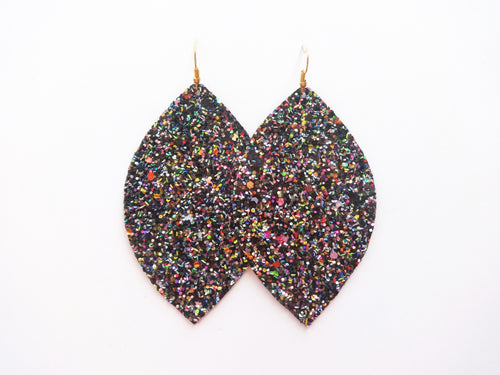 Black Candy Glitter Leaf Vegan Leather Earring