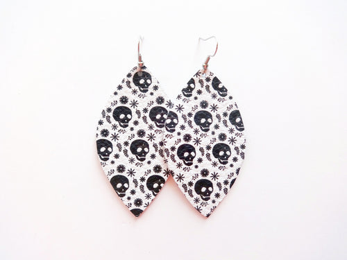 Skull Leaf Genuine Leather Earring