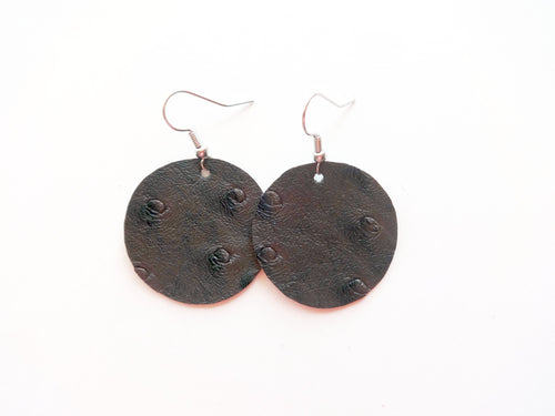 Grey Ostrich Round Vegan Leather Earring