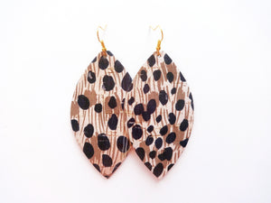 Spotted Cheetah Cork Leaf Vegan Leather Earring