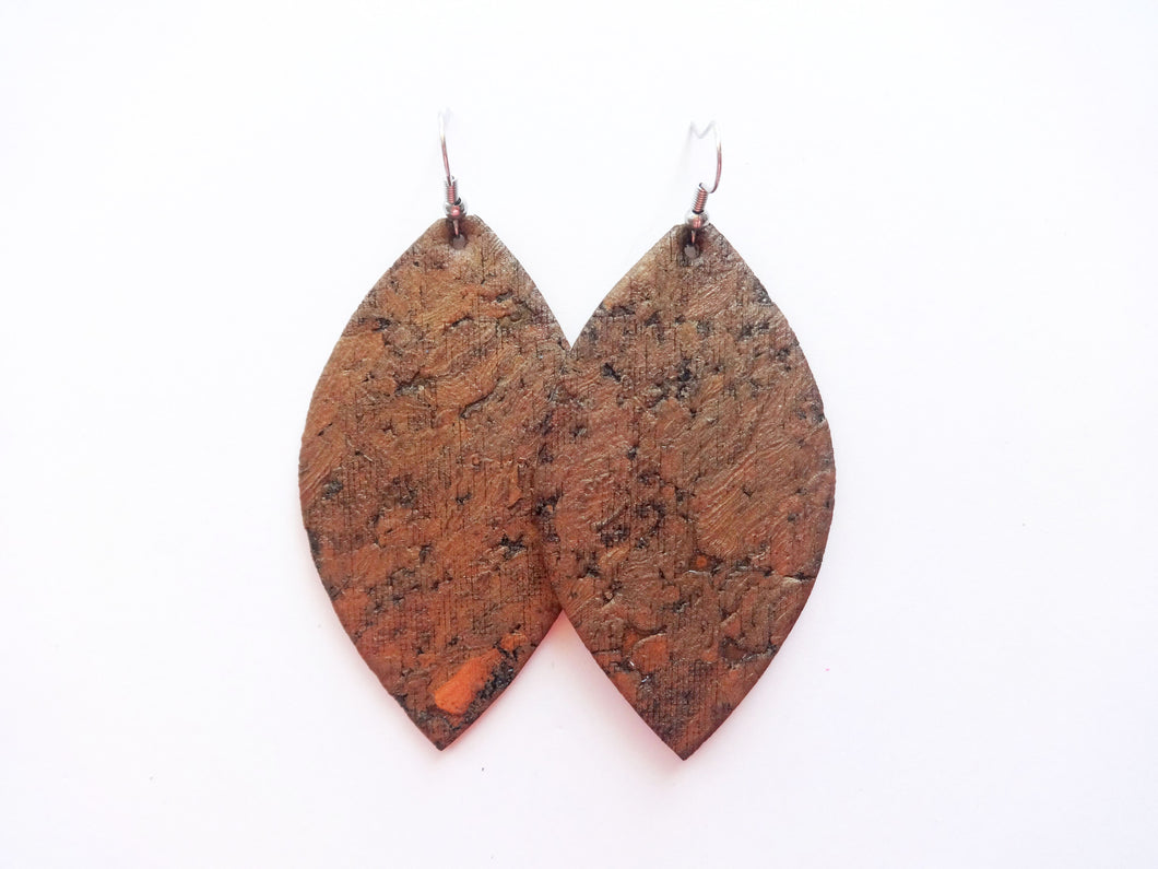Bronze Metallic Cork Leaf Genuine Leather Earring
