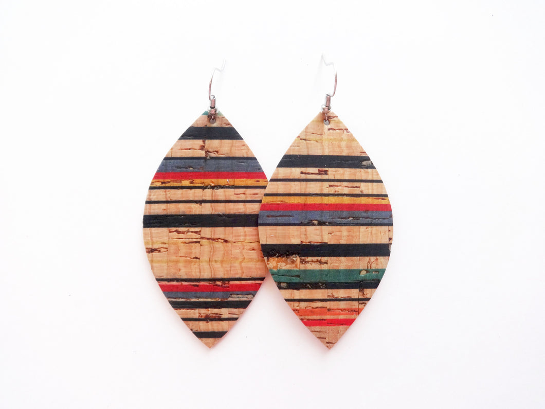 Striped Cork Leaf Vegan Leather Earring