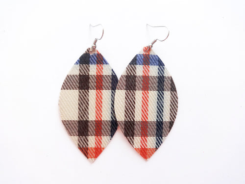 Autumn Plaid Vegan Leather Earrings